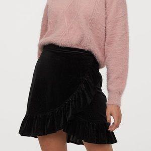 Black Ruffled Velour Velvet Ruffle Wrap Skirt